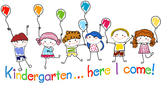 "photo of kids and balloons with ""kindergarten...here I come"" wording"