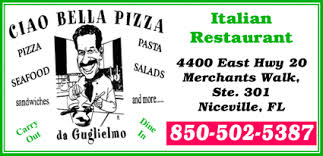 Picture of Ciao Bella Pizza  logo with phone number and address