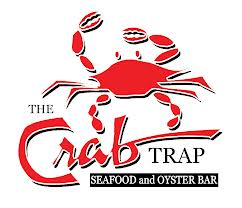 Picture of The Crab Trap logo with wording and a big red crab