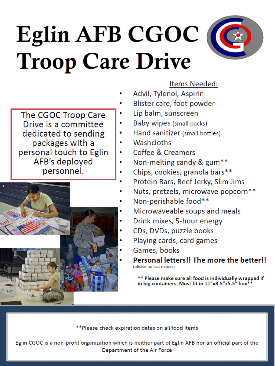 photo of Eglin AFB troop care package information with pictures of troops preparing care packages