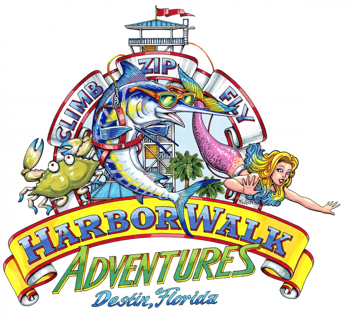 Picture of Harborwalk adentures logo with  a crab, fish and mermaid