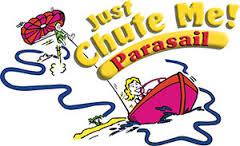 Picture of Just chute Me parasail logo with a boat and parasail attached