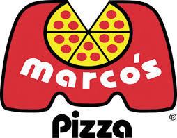 Picture of Marco's pizza with a pizza on a big M