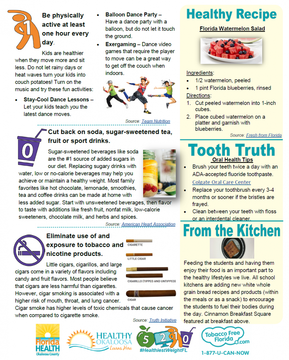 photo of Florida Health flyer page 2 including healthy facts and recipes