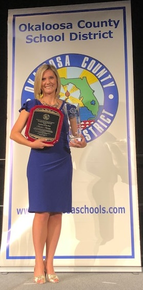 photo of Mrs. Phillips at the Okaloosa County Teacher of the Year Banquet
