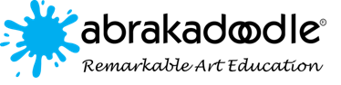 Picture of the abrakodoodle logo with a blue paint splash