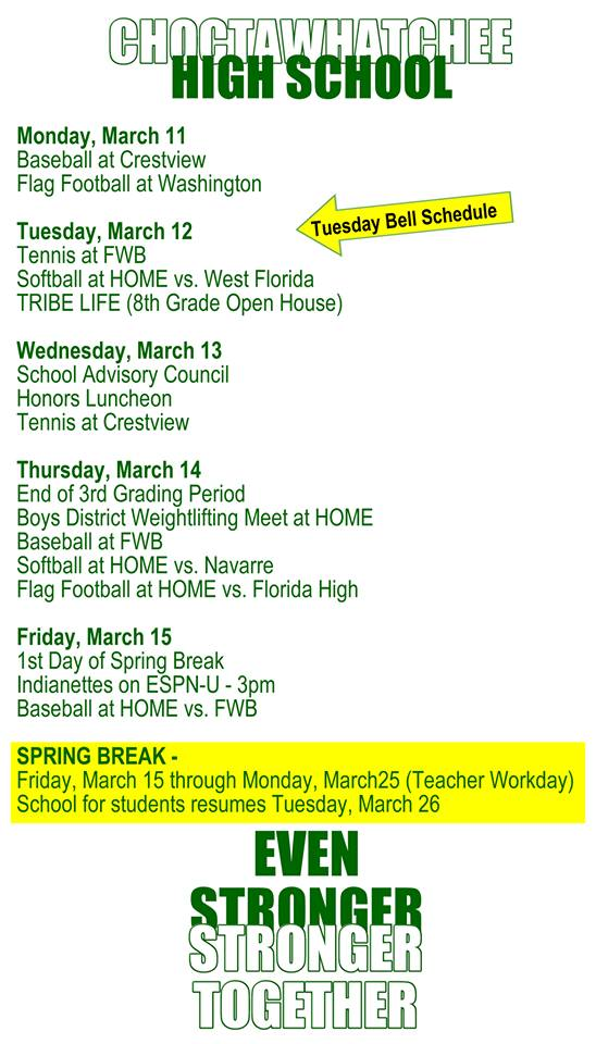 Week of March 11 Schedule