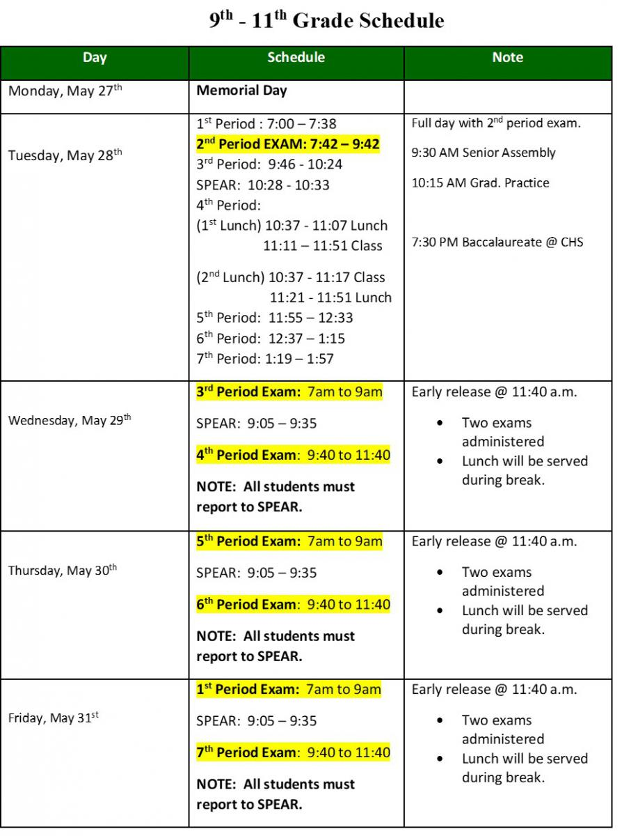 18-19 9th-11th Exam Schedule