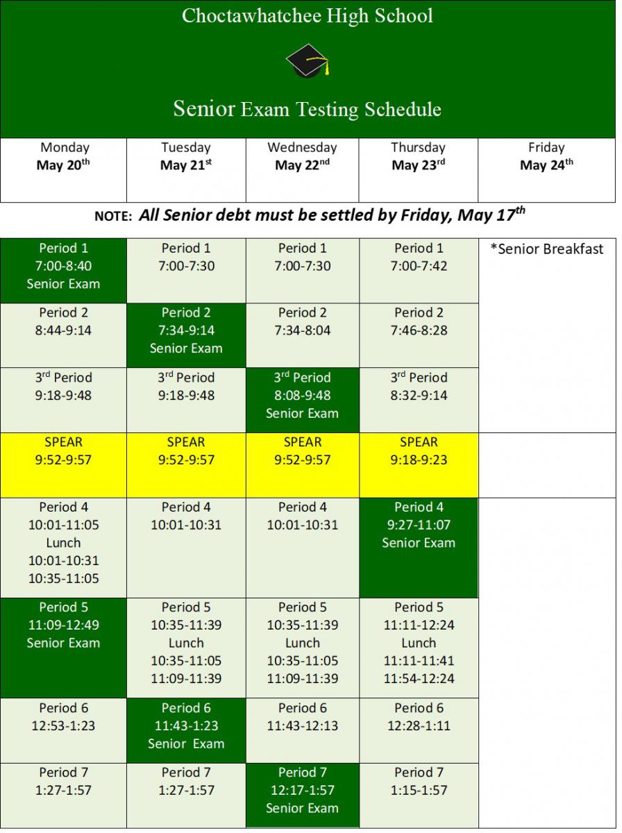 18-19 Senior Exam Schedule