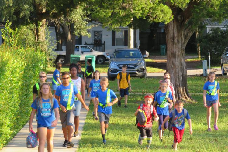 Edge ES students participate in Walk to School day