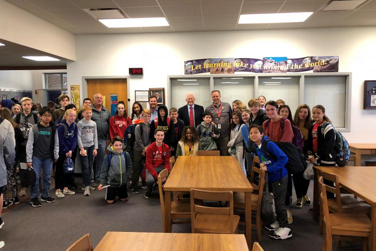 Judge Michael Flowers speaks to Ruckel MS Civics Students