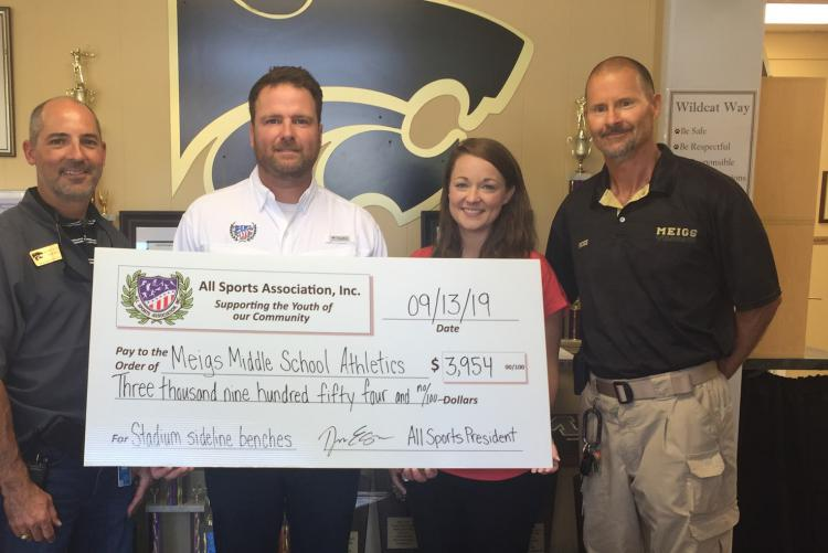 All Sports Association Donates $3,954 to the Meigs Middle School Athletic Program