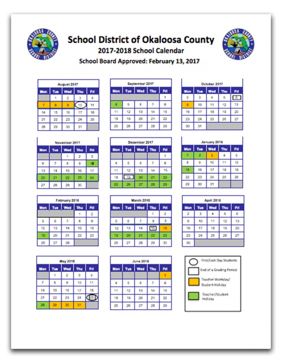 Okaloosa County School Calendar 2019 FWB Home | Fort Walton Beach High School