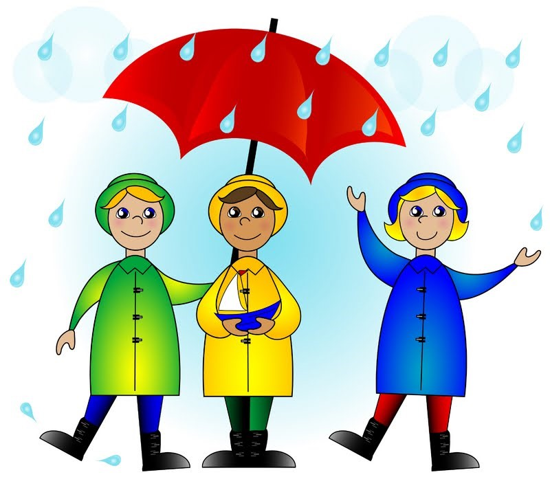 Image of children under umbrella in rain