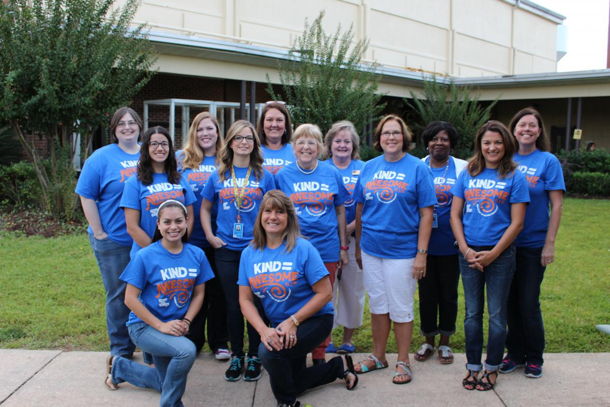 Meigs staff wearing Bullying Prevention shirts