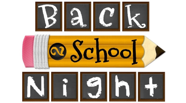 The Words Back to School Night written in back letters and on the background of a #2 pencil