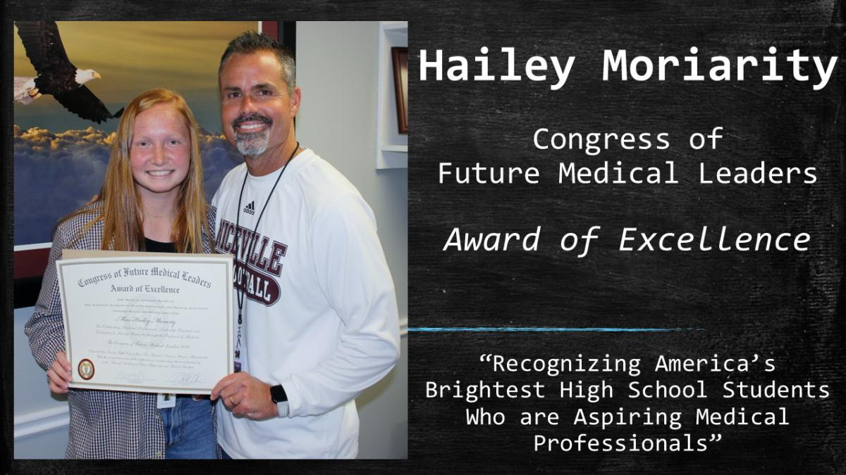 Hailey Moriarity Recieves Congress of Future Medical Leaders Award of Excellence