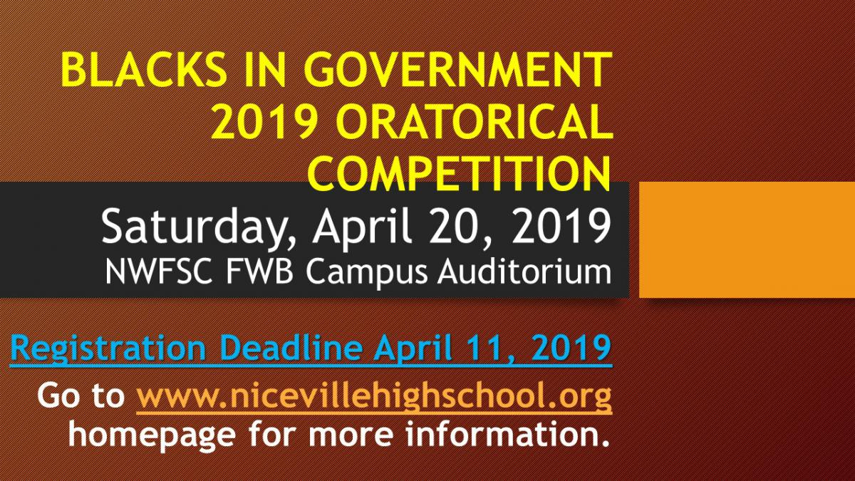 Blacks in Government Oratorical Competition Graphic