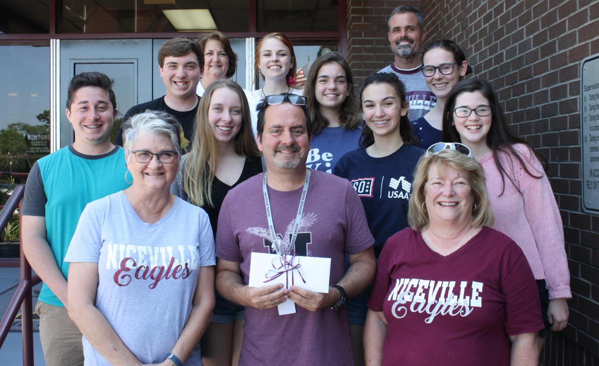 NHS Theater Department Receives Donation Group Picture