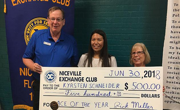 Pictured are: Paul McShane, Niceville Exchange Club, Kyrsten Schneider and Carol Mullins Hernandez, Kyrsten's Take Stock in The Mentor.