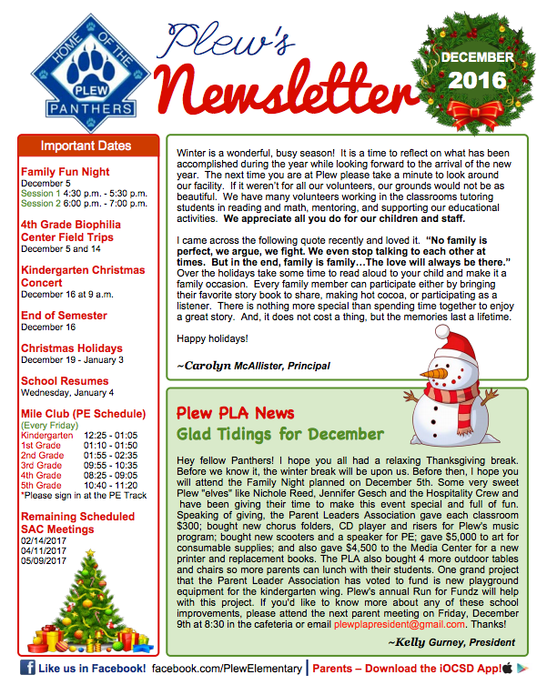 Image of Plew's Newsletter