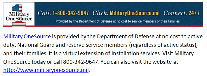 Link to Military One Source
